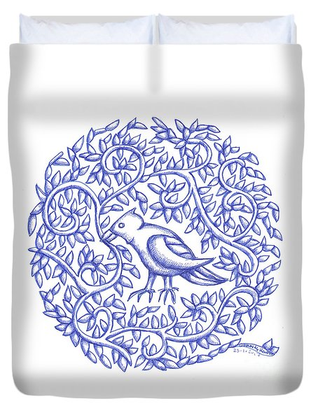Round Bird January 17 Duvet Cover