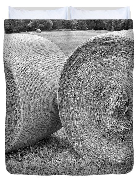 Round Hay Bales Black And White  Duvet Cover by James BO  Insogna