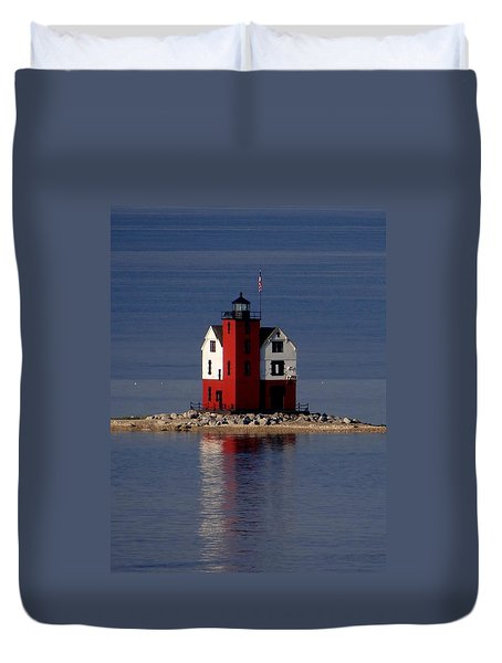 Round Island Lighthouse In The Morning Duvet Cover