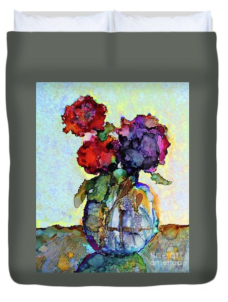 Duvet Cover featuring the painting Round Table With Flowers by Priti Lathia