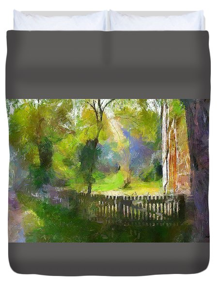Duvet Cover featuring the painting Around The Cathedral by Wayne Pascall
