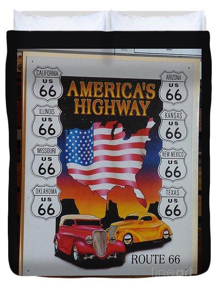 Route 66 America's Highway Duvet Cover