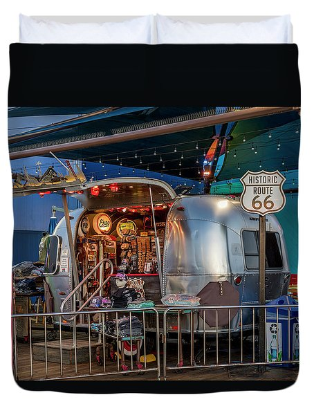 Route 66 And Airstream On Tha Pier Duvet Cover