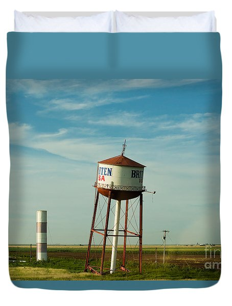 Duvet Cover featuring the photograph Route 66 And The Leaning Water Tower Of Britten by MaryJane Armstrong