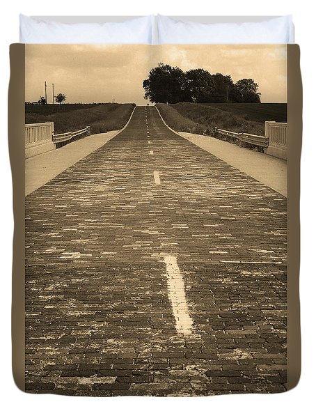 Duvet Cover featuring the photograph Route 66 - Brick Highway 2 Sepia by Frank Romeo