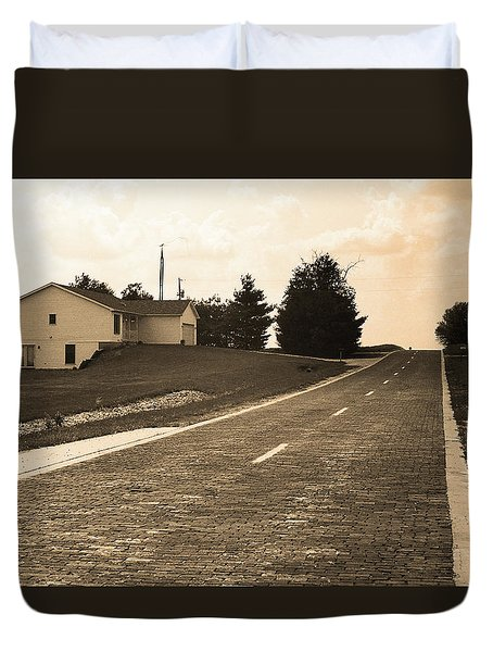 Duvet Cover featuring the photograph Route 66 - Brick Highway Sepia by Frank Romeo