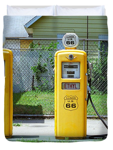 Route 66 - Illinois Gas Pumps Duvet Cover by Frank Romeo