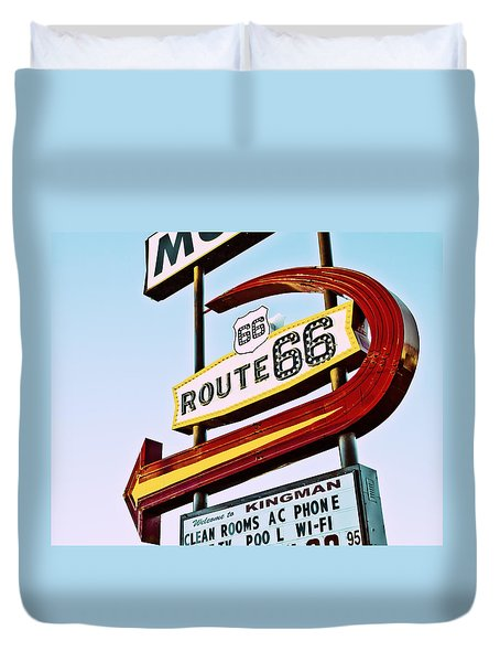 Route 66 Motel Neon Sign Duvet Cover