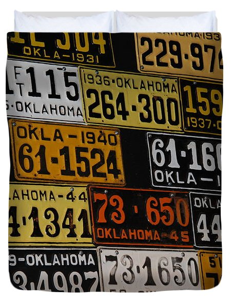 Route 66 Oklahoma Car Tags Duvet Cover by Susanne Van Hulst