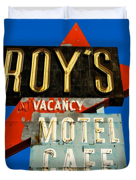 Route 66 Roy's Motel Cafe Sign Duvet Cover