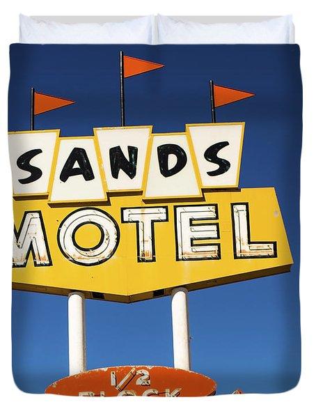 Route 66 Sands Motel Vintage Sign Duvet Cover