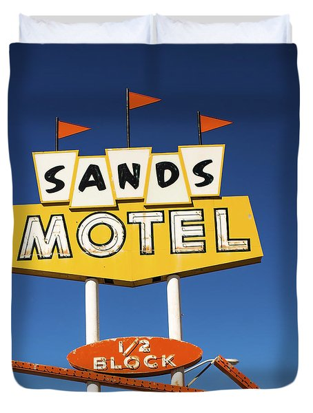 Route 66 Sands Motel Vintage Sign Duvet Cover