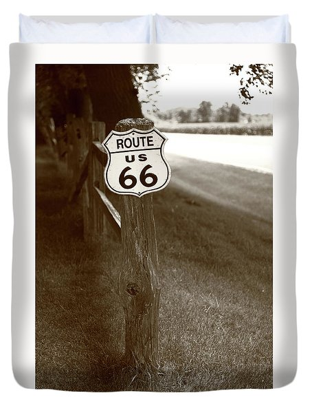 Duvet Cover featuring the photograph Route 66 Shield And Fence Sepia Post by Frank Romeo