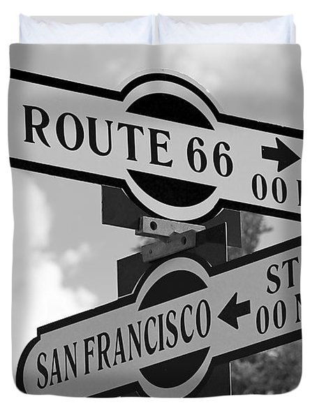 Route 66 Street Sign Black And White Duvet Cover