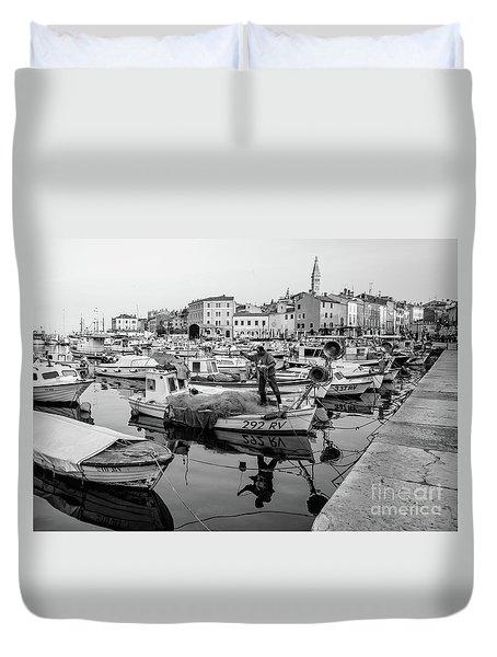 Rovinj Fisherman Working In Old Town Harbor - Rovinj, Istria, Croatia Duvet Cover