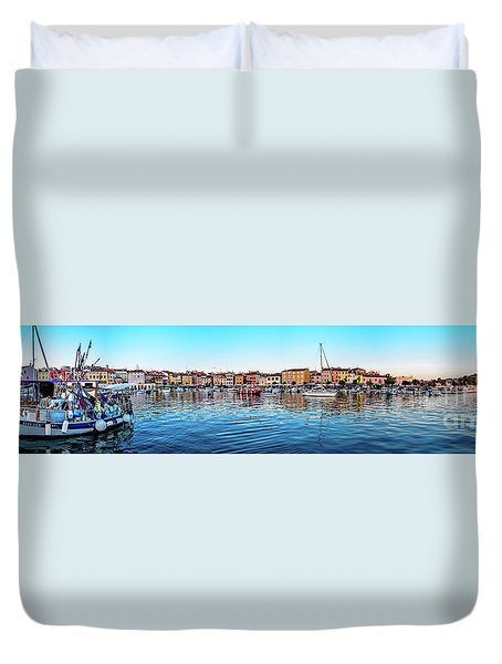 Rovinj Harbor And Boats Panorama Duvet Cover