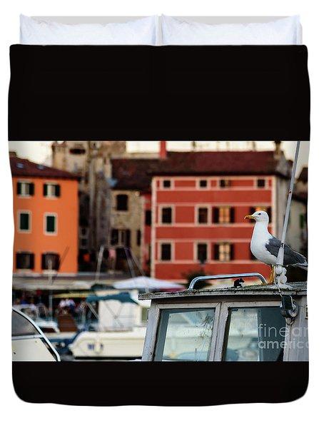 Rovinj Harbor Seagull - Rovinj, Istria, Croatia Duvet Cover