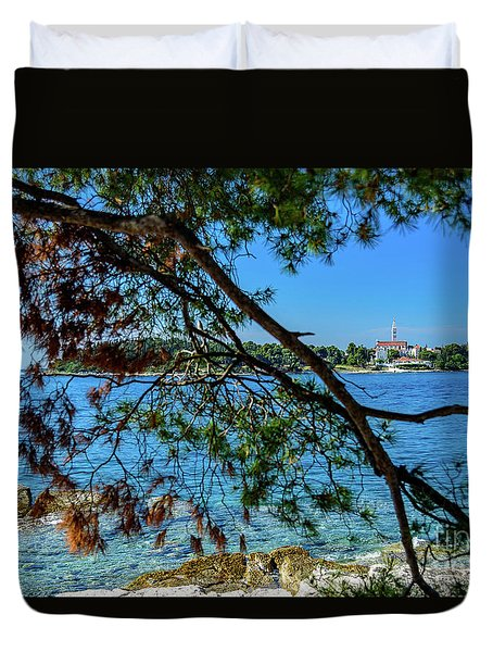 Rovinj Old Town Accross The Adriatic Through The Trees Duvet Cover