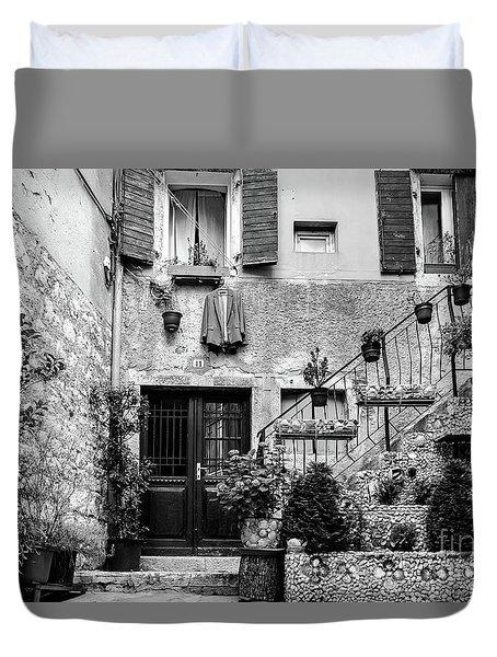Rovinj Old Town Courtyard In Black And White, Rovinj Croatia Duvet Cover