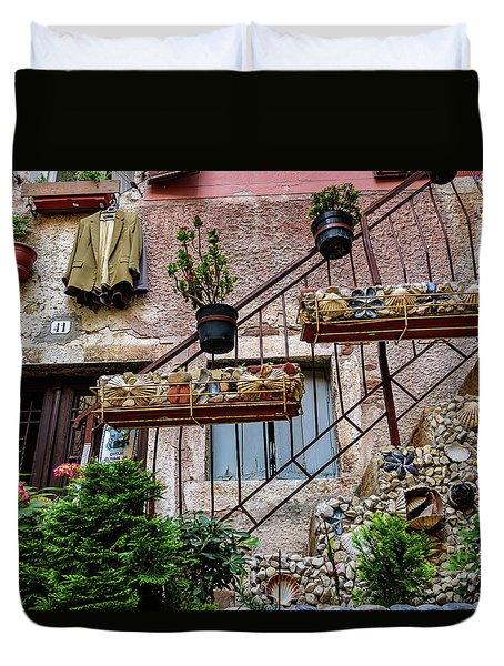 Rovinj Old Town Courtyard, Rovinj Croatia Duvet Cover