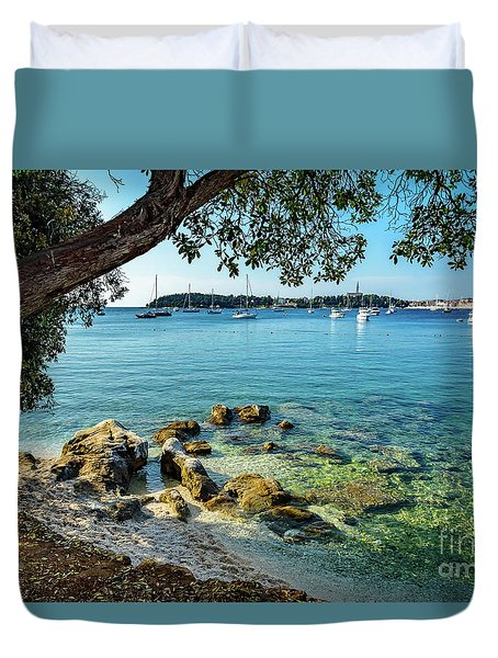 Rovinj Old Town, Harbor And Sailboats Accross The Adriatic Through The Trees Duvet Cover