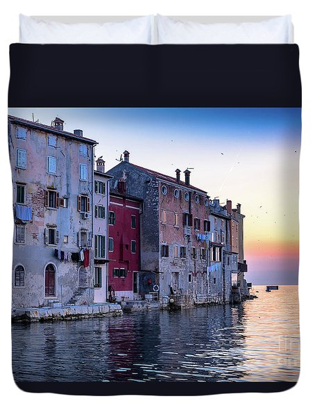 Rovinj Old Town On The Adriatic At Sunset Duvet Cover
