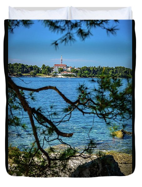 Rovinj Seaside Through The Adriatic Trees, Istria, Croatia Duvet Cover