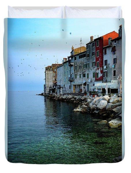 Rovinj Venetian Buildings And Adriatic Sea, Istria, Croatia Duvet Cover