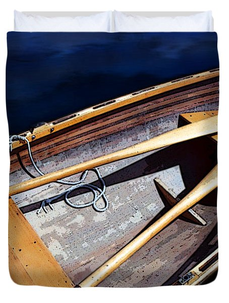 Duvet Cover featuring the photograph Row Boat Red Rillow by Susan Parish