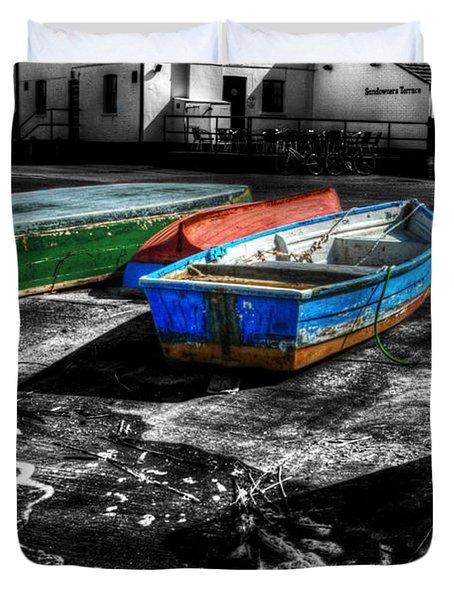 Row Boats At Mudeford Duvet Cover