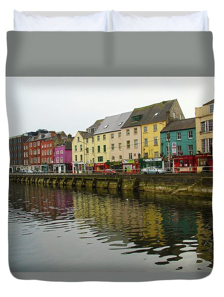 Duvet Cover featuring the photograph Row Homes On The River Lee, Cork, Ireland by Marie Leslie
