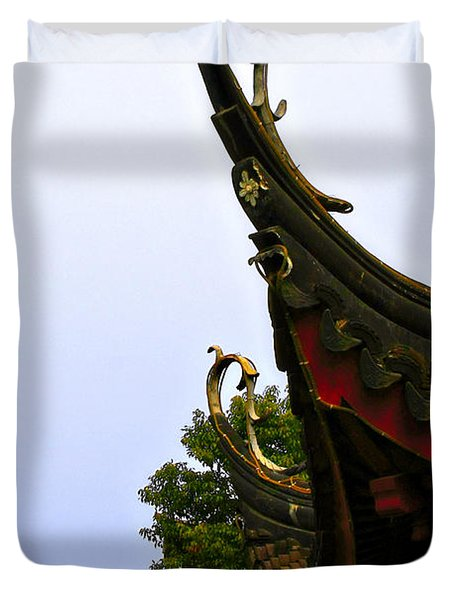 Row Of Chinese Rooftops Duvet Cover by Christine Till