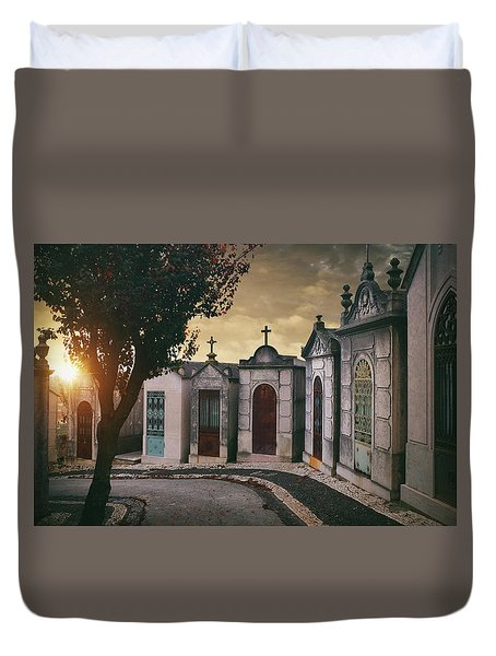 Duvet Cover featuring the photograph Row Of Crypts by Carlos Caetano