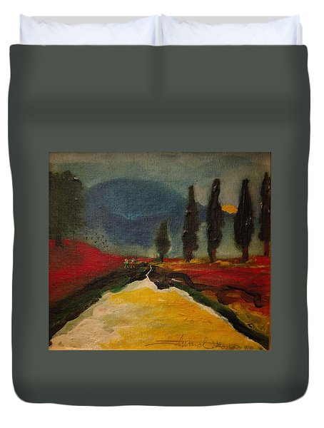 Row Of Cypress Duvet Cover