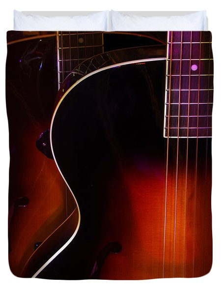 Row Of Guitars Duvet Cover