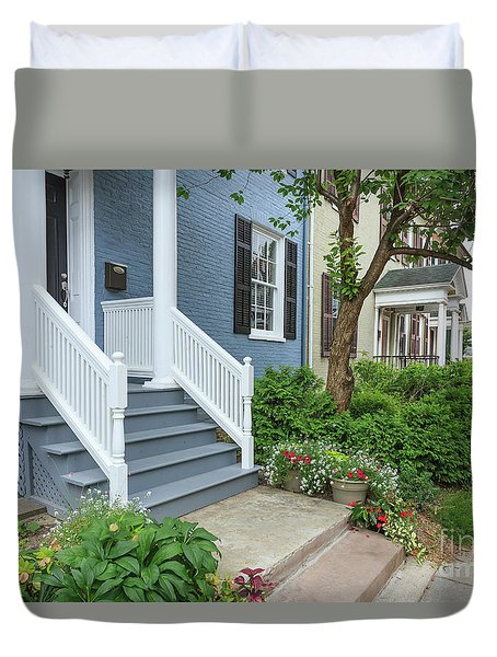 Row Of Historic Row Houses Duvet Cover