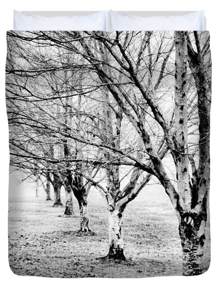 Duvet Cover featuring the photograph Row Of Leafless Trees In Fog - B/w by Greg Jackson