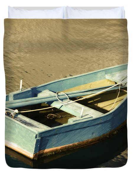 Rowboat At Twilight Duvet Cover by Mary Machare