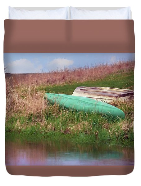 Duvet Cover featuring the photograph Rowboat - Canoe by Nikolyn McDonald