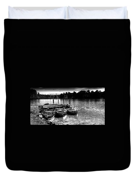 Duvet Cover featuring the photograph Rowboats At The Dock 2 by David Patterson