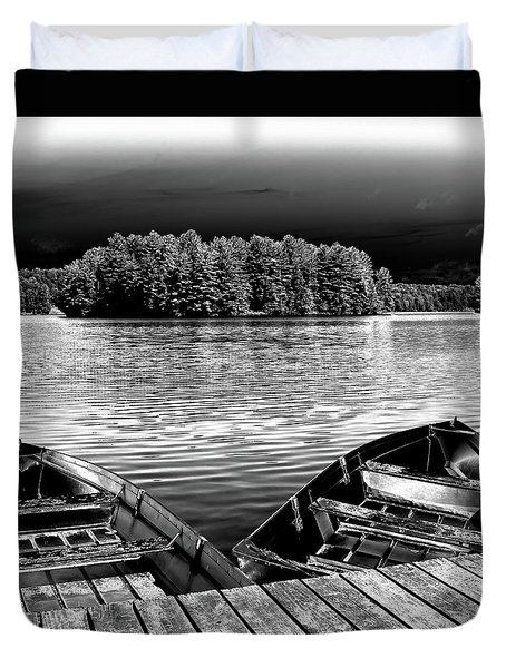 Duvet Cover featuring the photograph Rowboats At The Dock 4 by David Patterson