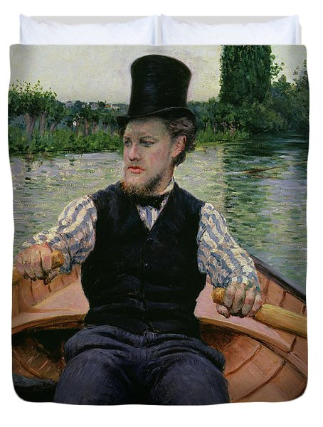 Rower In A Top Hat Duvet Cover by Gustave Caillebotte