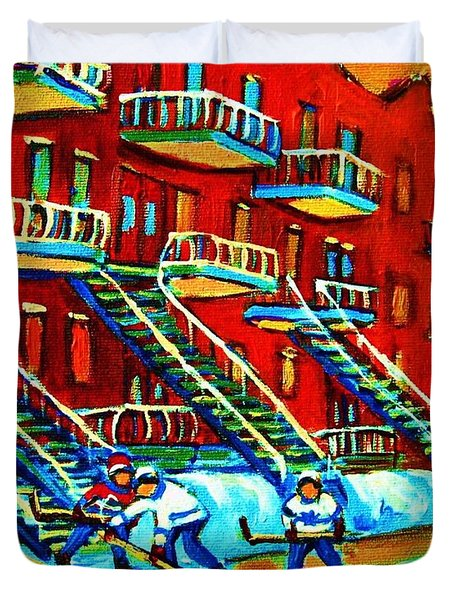 Rowhouses And Hockey Duvet Cover by Carole Spandau