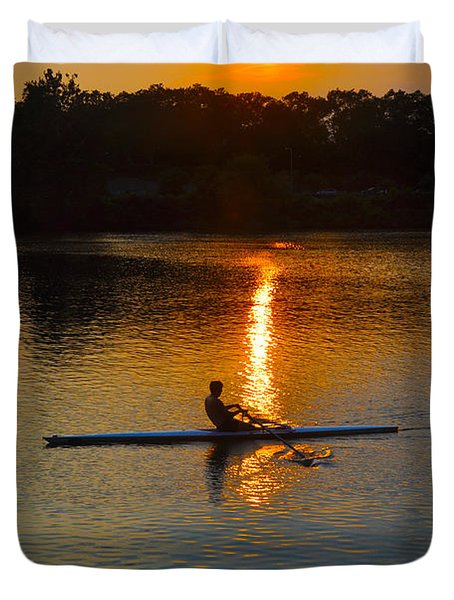 Rowing At Sunset 2 Duvet Cover by Bill Cannon