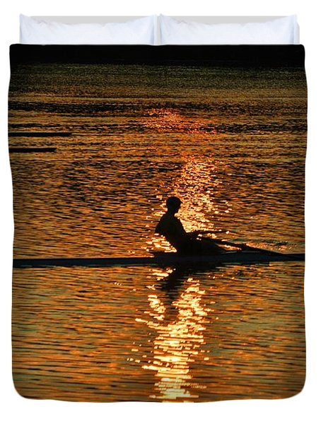 Rowing At Sunset 3 Duvet Cover by Bill Cannon
