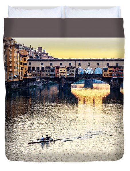 Rowing At Sunset Duvet Cover