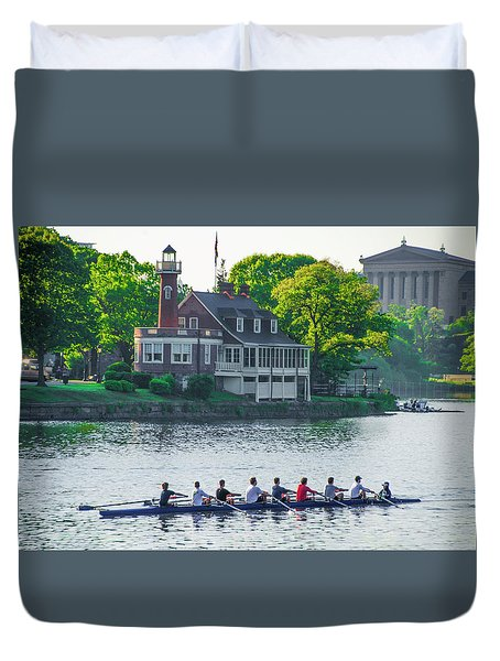 Duvet Cover featuring the photograph Rowing Crew In Philadelphia In The Spring by Bill Cannon
