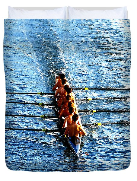 Rowing In Duvet Cover by David Lee Thompson