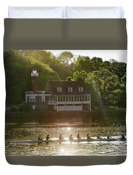 Duvet Cover featuring the photograph Rowing In Front Of Segley Club by Bill Cannon