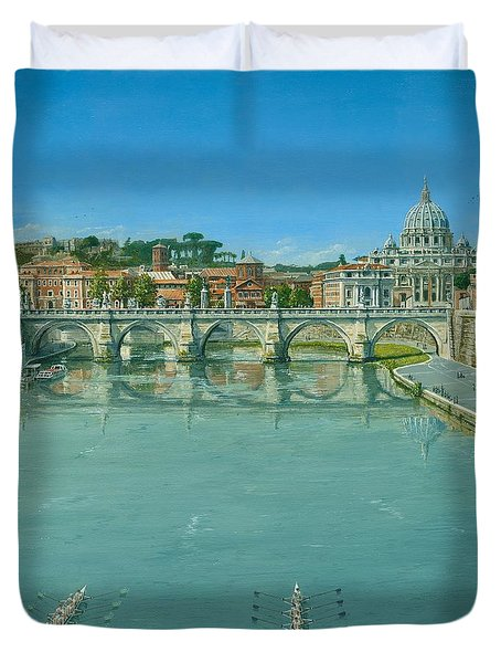 Rowing On The Tiber Rome Duvet Cover by Richard Harpum